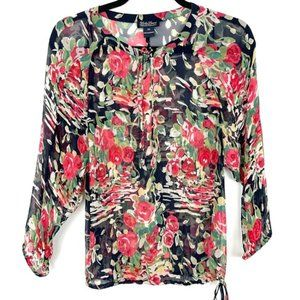 Lucky Brand Black Red Floral Sheer Neck Tie Top